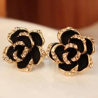 Earrings fashion female accessories black big rose stud earring rhinestone