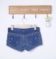 NEW 2014 Summer Fashion dot pattern all-match women shorts denim short jeans shorts feminino saia bermuda feminina free shipping