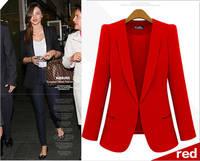 2014 Spring Blazers Women Suit Foldable Black long Slim jacket women's outwear Suit  Plus size ZA Blazer Women Free Shipping