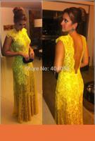 A-Best Selling kate middleton Chiffon V neck Lace beading evening dresses floor length celebrity yellow vestido de renda amarelo