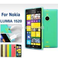Free shipping 2pcs/lot Soft silicon Semi Transparent Anti-skid TPU gel with dustproof plug cover case for Nokia lumia 1520