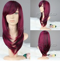 Supernova sale 60cm long straight synthetic wig wine red mixed black European vogue women wig party wigs cosplay costume wig