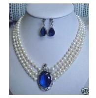 Wholesale cheap Fancy Silver White Pearl CZ Pendant Necklace Earrings / Free Shipping