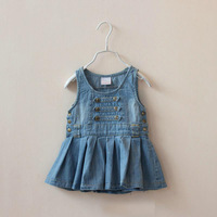 DS4064  Girls  cotton  denim vest dress top 5pcs/lot