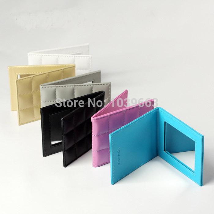 small size foldable pu frame makeup mirror free shipping(China (Mainland))