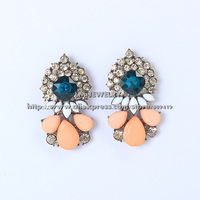 2014 New accessories unique jewelry fashion brincos colorful flower luxurious crystal statement drop earrings for women LM-SC821