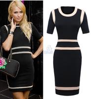 Victoria Beckham Style short-sleeved women's dresses stitching Slim Black Bodycon Office Dress Women Work Wear Vestidos LA384