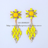 New 2014 accessories unique jewelry fashion brincos shourouk neon flower luxurious crystal drop earrings for women gift LM-SC822