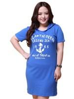 Korean Fat MM Large Size Women Clothing Cotton Hooded Collar Fashion Hoodies Summer Dress ML8133 XL-XXL-XXXL-XXXXL