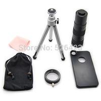 Cell Phone 2-14x Zoom Telescope Camera Lens + Black Case Cover + Tripod Holder