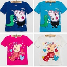 New 2014 Peppa Pig T-shirt White Pink Children T shirt Girls Clothes Boy Tees 100% Cotton,boys' t-shirts(China (Mainland))
