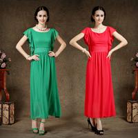 New 2014 Spring Summer Women's Dress Chiffon Solid Color Ruffled Beach Dress 86013#