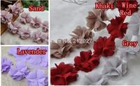 "Free Shipping 2.5"" colorful Chiffon Rose Trim,shabby Chiffon Flowers,Hair Accessories Fabric Flower Chiffon Trim 5yards/lot mix"