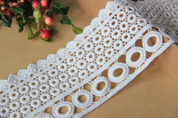 DIY Sewing clothes accessories lace trim embroidery exquisite cotton cutout circle water soluble embroidered lace 9cm wide