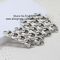 (20 pieces/lot) 12*44mm Antique Silver Metal Alloy Chain-shaped Jewelry Connectors Charms for Bracelet Making 7439