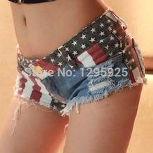 New Girl Women's Retro High Waist Blue Flag Of USA Tassel Hole Jeans Short Pants