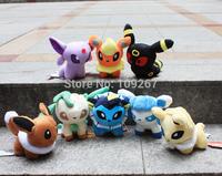 "Pokemon plush toys 8pcs/lot 5 ""Umbreon Eevee Espeon Jolteon Vaporeon Flareon Glaceon Leafeon Animals Soft Stuffed Doll Gift Idea"