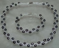 Genuine 5-68mm 3lines black cultured freshwater  pearl  Sets necklace & bracelet free shipping