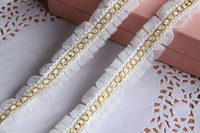 White gauze mesh pleated lace with gold thread handmade diy clothes lace accessories for sewing decoration 2.5cm lace trims