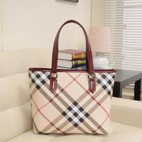 2014 vintage british style plaid bag women's handbag large capacity tote bag red handle designer check bag big shopping bag