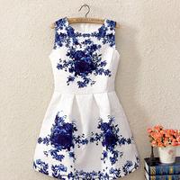 Fashion 2014 Summer New Vintage Style Elegant Brand Women White Sleeveless Print  Floral Party Work casual Dress 8592