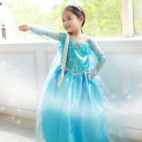 baby girl frozen dress,  new 2014 Elsa costumes dress for party,  blue summer girl dresses wholesale ,5pcs/lot, in stock