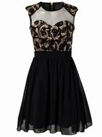 MC17969 Summer Sexy Beauty Paisley Sequin Skater Dress Elegant Novelty Dresses New Fashion 2014 Spring Women Dresses