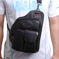 Travel fashion small chest pack male man genuine leather cowhide messenger bag cowhide shoulder bags for men 8228