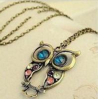Hot Fashion Women Vintage Bronze Rhinestone OWL Animal Pendant Necklace Long Chain Wholesale
