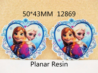50Y12869 Free Shipping 50*43mm flat back resin cartoon frozen sister pattern diy holiday decoration craft scrapbooking 50pcs/lot