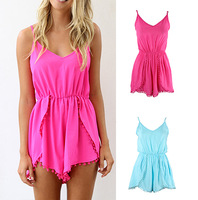 free shIpping .2014 Fashion lovegirl Pom Pom Playsuit rompers womens jumpsuit FT779