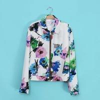 2014 Autumn Za Women Fashion Floral Print Zipper Jacket Casual Jackets Short Fashion Ladies' Outerwear & Coats