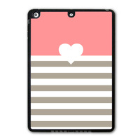 Coral Heart With Stripes Protective Black Hard Shell Cover Case For iPad 5 Air/iPad Mini/iPad 2 3 4  P31