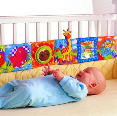Lamaza Baby Bedding Bumper Multifunctional Touch Fun Crib Bumper Multi-colored Baby Cloth Books Free Shipping(China (Mainland))