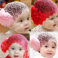 Baby Infant Girl Lace Flower Headband Elastic Hairband Hair Band Christening New 2pcs/lot  free shipping
