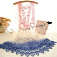 Women Lace Crochet Hollow Tank Tops Bikini Cover Up Gradient Blouses Free Drop-Shipping
