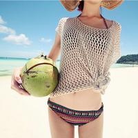 Women's Crochet Hollow Tops Beach Knitwear Short Sleeve Bikini Cover-up Beige Free Drop-Shipping