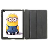 Free Shipping Lovely Cute Minion Protective Smart Cover Leather Case For iPad 2 3 4/iPad 5 Air/iPad Mini  P79