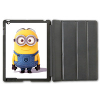 Free Shipping Lovely Cute Minion Protective Smart Cover Leather Case For iPad 2 3 4/iPad 5 Air/iPad Mini  P79