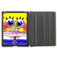 Lovely Cute Spongebob Protective Smart Cover Leather Case For iPad 2 3 4/iPad 5 Air/iPad Mini (Free Shipping)  P107
