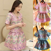2014 Summer Ladies' Elegant Skirt Suits High Quality Short Sleeve Embroidery Clothing Set Business Women's Formal Empire Twinset
