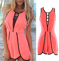 Free shiping 2014 Summer Fashion love girl Beach Fuelcap Playsuit Rompers Womens Jumpsuits Sleeveless Hollow Out Palysuits FT886