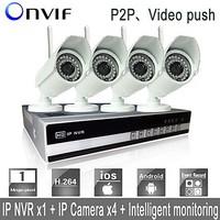 Sinocam 4CH Wifi H.264 NVR Kit(4pcs Wireless 1.0MP 3.6mm Day Night Vision Weatherproof IP Camera),P2P