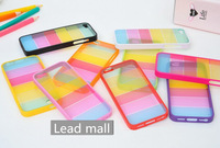 DHL free shipping  Rainbow stripes pattern plastic hard case cover for iphone 4G 5G 5C 20pcs/lot