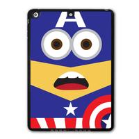 Lovely America Captain Minion Protective Black Hard Shell Cover Case For iPad 5 Air/iPad Mini/iPad 2 3 4  P19