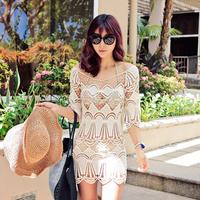 Women Lace Crochet Hollow Short Sleeve Bikini Cover Up Beach Dress Tops Swimsuit Free Drop-Shipping
