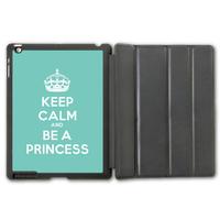 Leather Case For iPad 2 3 4/iPad 5 Air/iPad Mini, Keep Calm And Be A Princess (On Mint) Protective Smart Cover  P100
