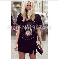 2014 fashion summer rivet diamond beagle dog short sleeve t shirt dog head printed loose notelty tops free shipping best selling