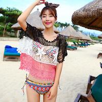 Women's Lace Crochet Hollow Gauze Smock Beach Bikini Cover-up Irregular Tops Free Drop-Shipping