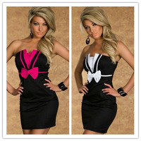 Free shipping + Lowest sexy dress women price New Sexy Charming Girl Bow Tube Fashion clubwear dresses 02938